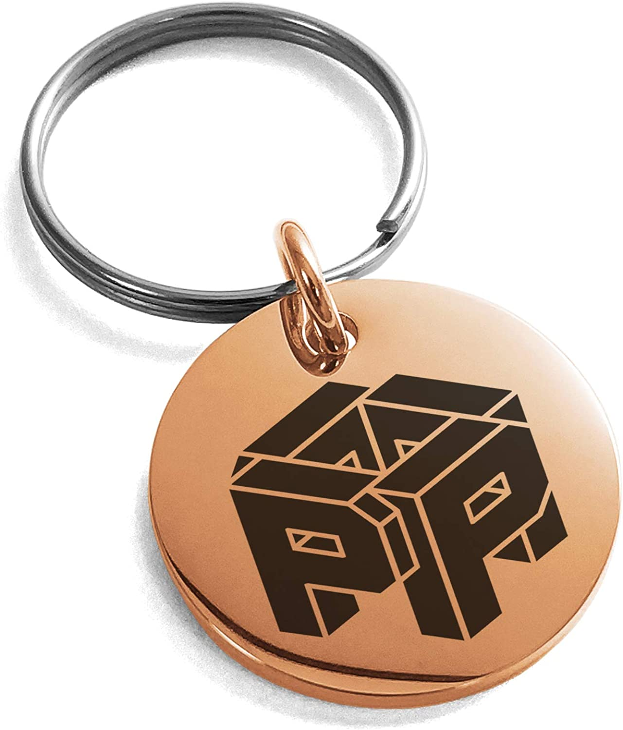 Tioneer Stainless Steel Letter P Initial 3D Cube Box Monogram Small Medallion Circle Charm Keychain Keyring