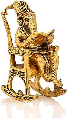 PARIJAT HANDICRAFT Brass Lord Ganesha Reading Ramayana Statue Hindu God Ganesh Ganpati Sitting on Chair Idol Sculpture Home Office Gifts Decor