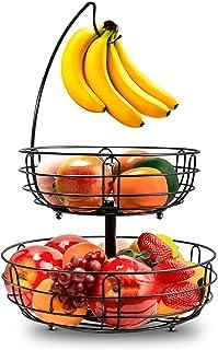Corbeille à fruits en fil métallique à 2 étages Avec porte-bananes, corbeille à fruits contemporaine - Corbeille à fruits ...