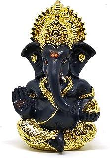 "Sawcart Lord Ganesha/Ganpati 3.5"" Gold Plated Terracotta Statue Puja Idol Figurine Sculpture Hindu God of Success, Prosper..."