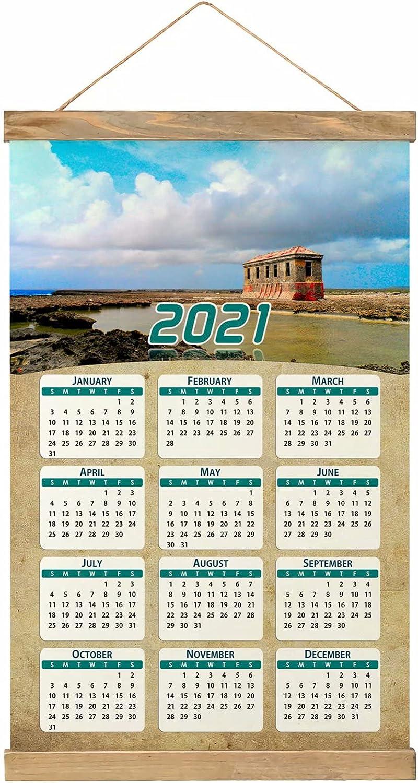 Bonaire Imprimir Póster Calendario de Pared 2021 12 Meses Pintura decorativa Cuadros Colgantes Lienzo Madera 20.4