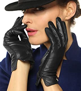 WARMEN Women Touchscreen Texting Nappa Leather Glove Winter Warm Plain Cashmere & Wool Blend Lined Gloves