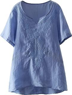 Mordenmiss Women's Embroidered Blouse Tunic V-Neck Linen Tops Short Sleeve Hi-Low Hem Shirt for Petite