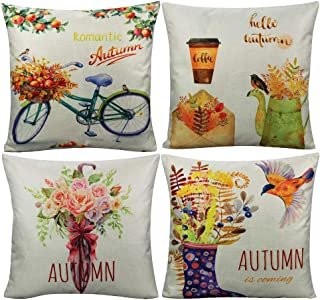 All Smiles Autumn Fall Throw Pillow Covers Bicycle Home Decorations Cushion Cover Romantic Love Couple Flower Bird 18x18 for Couch Set of 4 Farmhouse Umbrella Envelope Rainshoes …