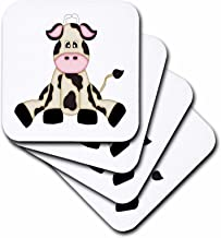3dRose CST_210823_3 Cute Black & White Sitting Cow Illustration Ceramic Tile Coaster (Set of 4)