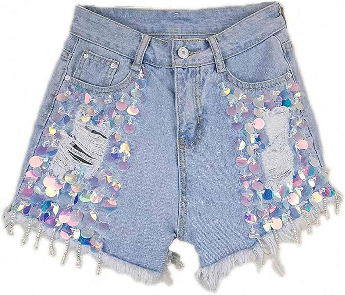 Tayaho Summer High Waist Loose Sequins Riped Black Denim Shorts Women