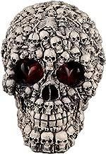 Fan-Ling Halloween Skull Model,Halloween Decorations Resin Wacky Funny Novelty Skull Toys,Fake Skull Party Prop,Halloween Decoration Toy Funny Spoof Light LED Eye Ghost Scary Terror Skull Prop (C)