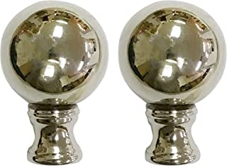 Royal Designs Large Ball Lamp Finial for Lamp Shade- Polished Silver Set of 2