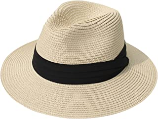 Women Wide Brim Straw Panama Roll up Hat Fedora Beach Sun...