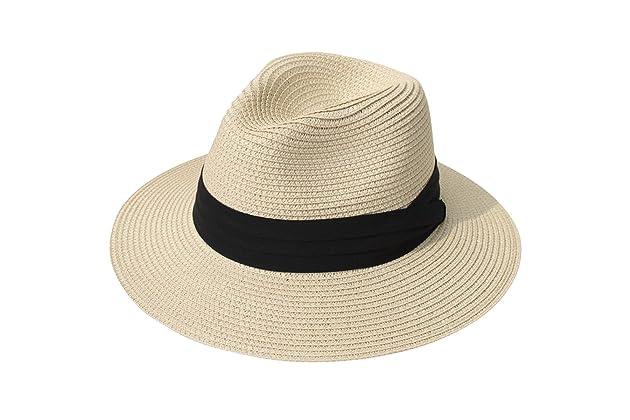 Lanzom Women Wide Brim Straw Panama Roll up Hat Fedora Beach Sun Hat UPF50+ 7fddfcc9b67