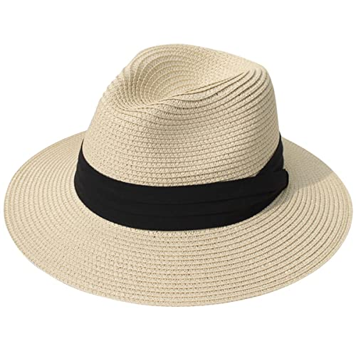 JOYEBUY Womens UPF50 Foldable Summer Straw Hat Wide Brim Fedora Sun Beach  hat 186ccc57cf44
