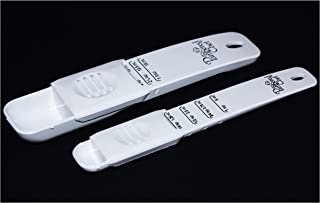 Pampered Chef (2) Adjustable Measuring Spoons Tablespoon and Teaspoon Set White 2215