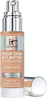 IT Cosmetics Your Skin But Better Foundation + Skincare, Medium Neutral 33 - Hydrating Coverage - Minimizes Pores & Imperfections, Natural Radiant Finish - With Hyaluronic Acid - 1.0 fl oz