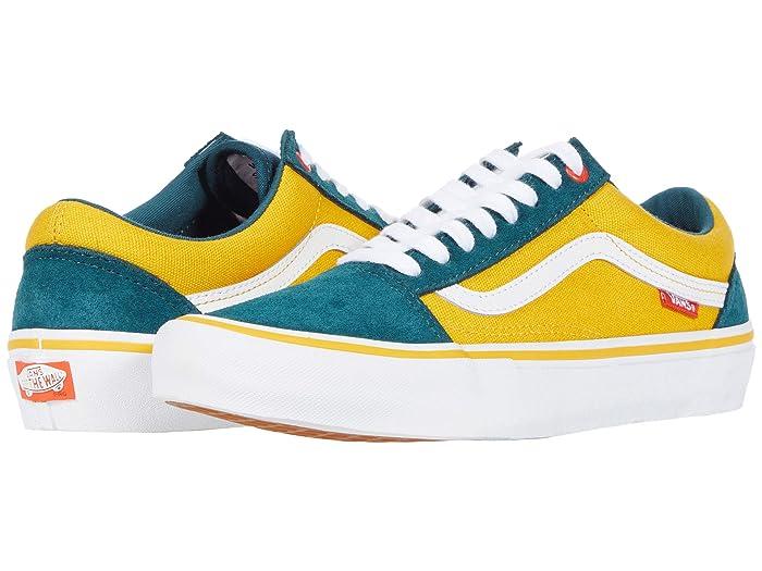 80s Men's Clothing | Shirts, Jeans, Jackets for Guys Vans Old Skool Pro Prime AtlanticGold Skate Shoes $65.00 AT vintagedancer.com