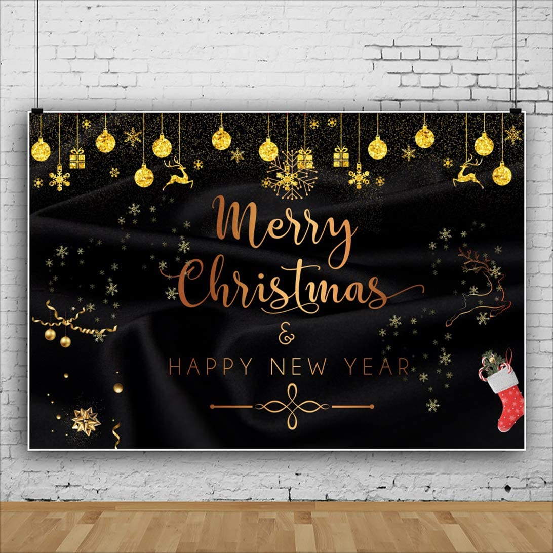 Leyiyi 15x10ft Glitter Merry Christmas and Happy New Year Backdrops Golden Xmas Decoration Balls and Gift Box Christmas Elk Snowflake Red Xmas Stocking Black Photography Background Xmas Party Banner