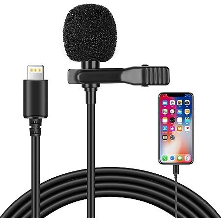 コンデンサーマイク iPhone iPad マイク Lightningマイク ピンマイク クリップ式 ライトニング マイク 全方向性 マイクロフォン ミニマイク 3m長さ iPhone11/11 Pro/11 Pro Max/XS/XS Max/XR/X/8 8 Plus/7 7Plusに対応 音楽録音/カラオケ/YouTube TikTok 動画撮影/生放送/ゲーム実況/インタビュー/チャット用マイク 3個