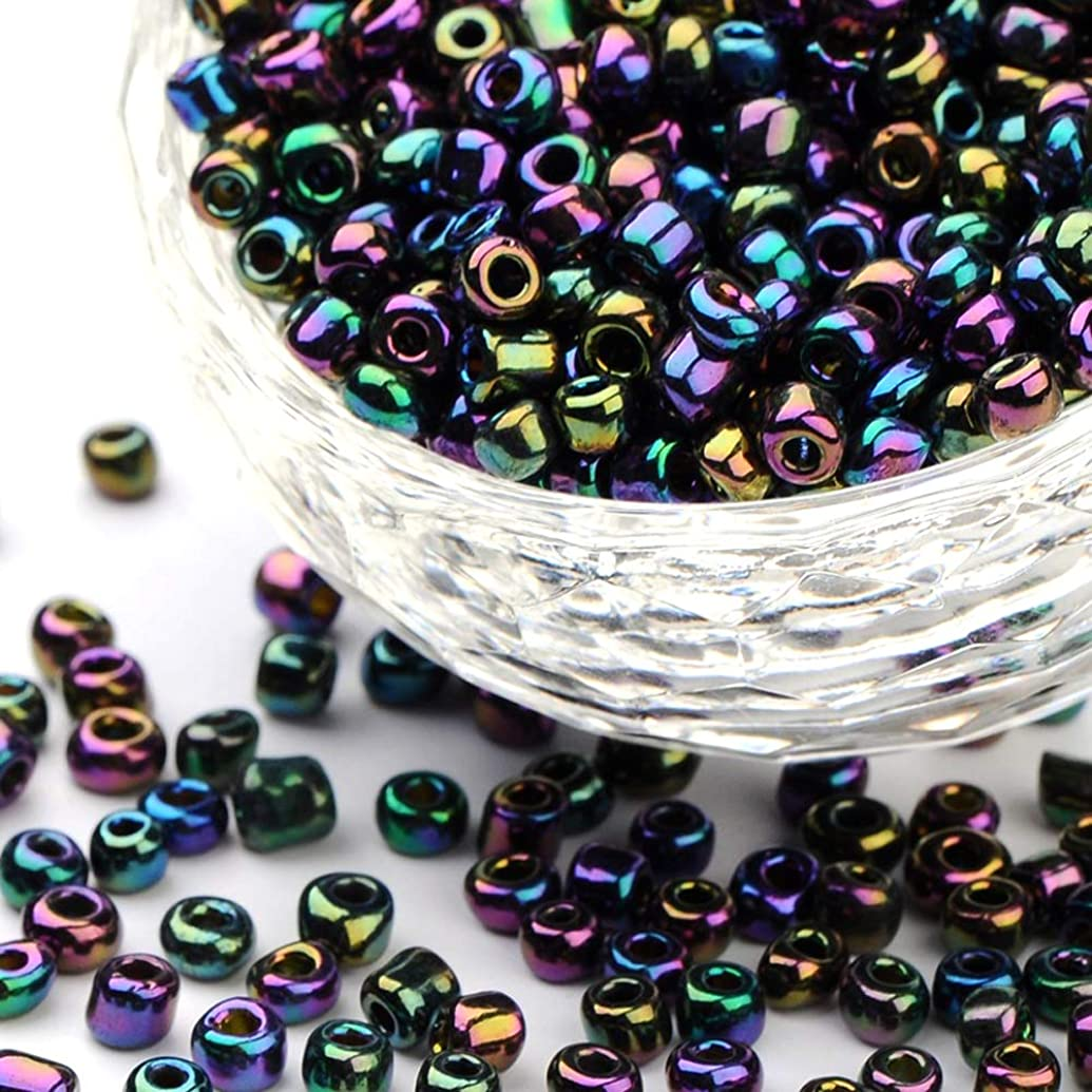 Craftdady 6/0 4mm Electroplate Metallic Color Glass Iris Round Pony Seed Beads for DIY Jewelry Craft Making About 4500pcs/Pound