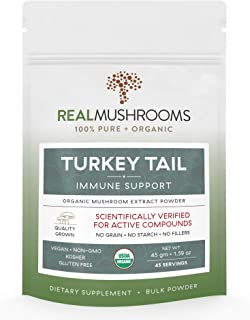 Organic Turkey Tail Mushroom Extract Powder by Real Mushrooms - Immune Booster - 45g Bulk Powder Supplement - Perfect for Shakes, Smoothies, Coffee and Tea