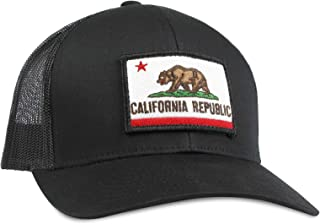 a364aef8 California Flag Hat - Trucker Mesh Snapback Baseball Cap - Black