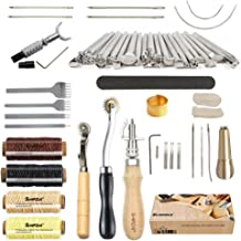 Leather Tools SIMPZIA 52 pcs Leather Kit with Stitching Groover, Prong Punch and Leather Working Saddle Making Stamps Tools Set for DIY Leathercraft