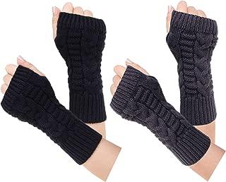 Loritta 2 Pairs Women Winter Warm Fingerless Gloves Crochet Thumbhole Knit Wrist Warmers