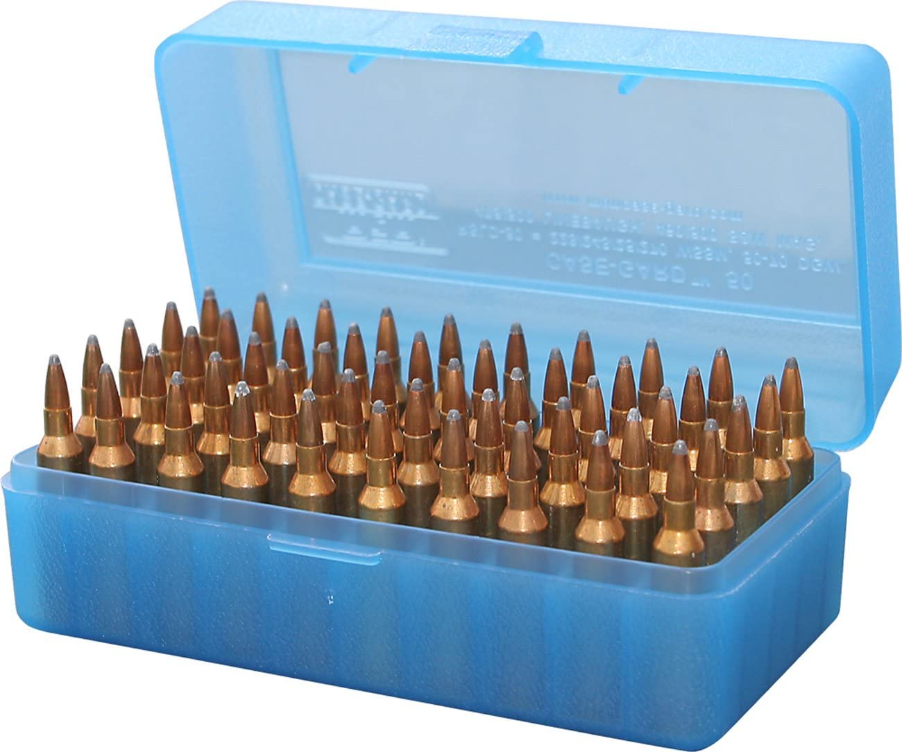 FLIP TOP PLASTIC 50 RIFLE ROUND CARTRIDGE AMMUNITION BOX CASE for ammo bullet