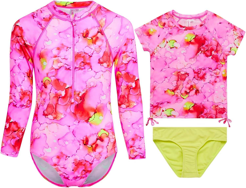 Limited Too Girls' Rash Guard Set Long Beach Mall - UPF quality assurance Suit 3 Piece Bathing 50+