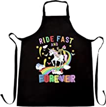 Unicorn Chef's Apron Ride Fast And Live Forever Skeleton Black One Size