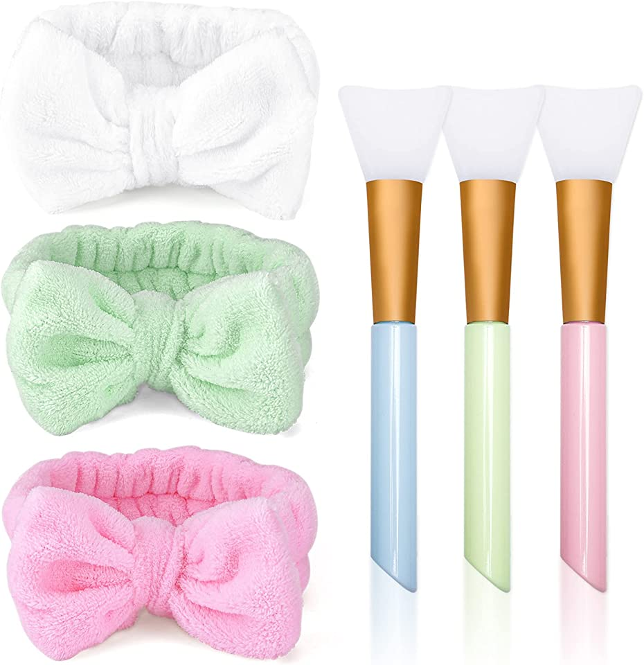 Spa Headband with Silicone Face Masks Brush, 3 Pack Bowknot Coral Fleece Elastic Headband Women Coral Fleece Elastic Headband Washing Face Hair Wrap(Pink+Blue+White)