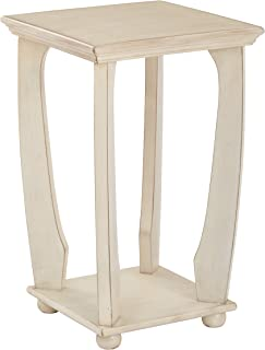 Office Star Mila Hand Painted Square Accent Table, Antique White Finish