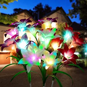 Solar Lights Outdoor Decorative, MOLAIER Solar Lights Outdoor Garden with Bigger Lily Flowers 7 Color Changing Outdoor Decor Solar Garden Lights Waterproof Garden Decor for Patio Yard Walkway, 4 Pack