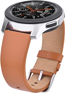 V-MORO Compatible Gear S3 Bands/Galaxy Watch 46mm Band, 22mm Genuine Leather Replacement Strap for Samsung Galaxy Watch 46mm R800 & Samsung Gear S3 Classic / S3 Frontier Smartwatch Sports Brown