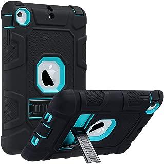 ULAK iPad Mini Case, iPad Mini 2 Case, iPad Mini 3 Case, iPad mini Retina Case, Three Layer Heavy Duty Shockproof Protective Case for iPad Mini,iPad Mini 2,iPad Mini 3 with Kickstand (Aqua Blue/Black)
