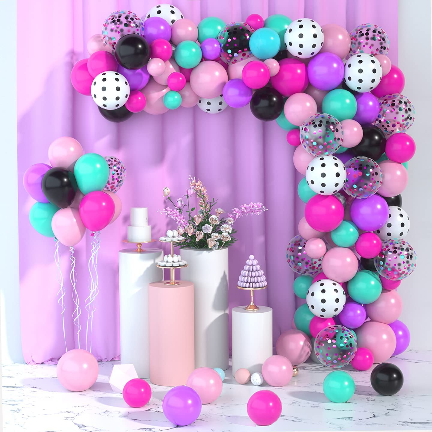 Surprise Party Balloons Garland Kit- 108Pack 12/10/5 inches Rose Red Pink Teal Blue Black Purple White Polka Dots Latex Balloons Confetti Balloons for Surprise Party Supplies Surprise Birthday Baby Shower Decorations