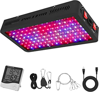 Phlizon Newest 1200W LED Plant Grow Light,with Thermometer Humidity Monitor,with Adjustable Rope,Full Spectrum Double Switch Plant Light for Indoor Plants Veg and Flower- 1200W(10W LEDs 120Pcs)