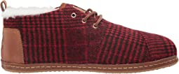 Red Abstract Plaid/Faux Shearling