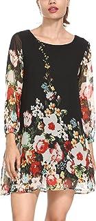 Women's Floral Pattern 3/4 Sleeve Loose Fit Chiffon Tunic Dress Plus Size (CX002-2B 3XL)