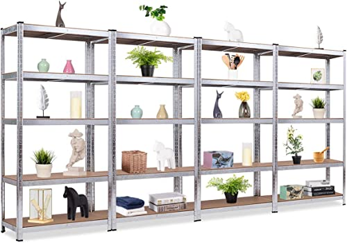 """2021 Giantex 4 Pieces Shelving Rack Storage high quality Shelf Steel Garage Utility Rack 5-Shelf Adjustable Shelves Heavy Duty outlet sale Display Stand for Books, Kitchenware, Tools Bolt-Free Assembly 36""""x 16""""x 72"""", Silver online sale"""