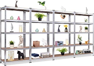 Giantex 4 Pieces Shelving Rack Storage Shelf Steel Garage Utility Rack 5-Shelf Adjustable Shelves Heavy Duty Display Stand for Books, Clothes, Kitchenware, Tools Bolt-Free Assembly 36