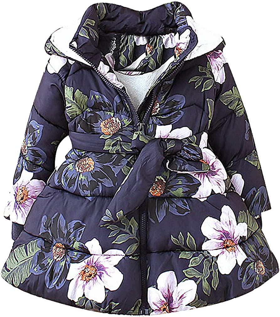 BPrincess Girl Flower Print Zip Up Quilted Fleece Lined Hooded Belted Flare Coat