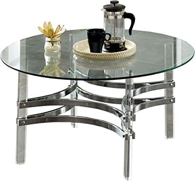 Benjara Coffee Table with Acrylic Legs and Metal Supports, Silver and Clear