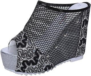 [Florrita-シューズ&バッグ] レディース 2019 メッシュ ウエッジソールミュール 女靴 オープントゥジュート sandal 通気 厚底 履きやすい ビーチサンダル スリップ 痛くない ブラック ホワイト ブラウン シルバー ゴールド