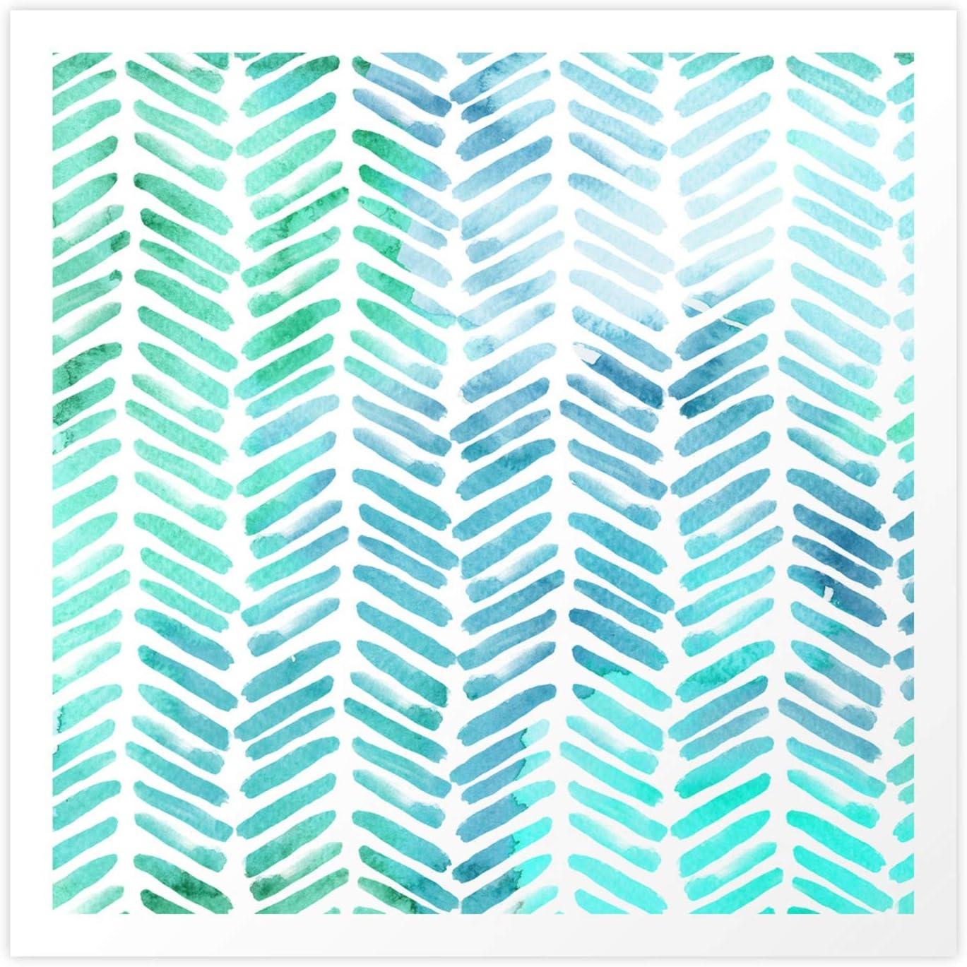 Handpainted Chevron Pattern - Light and Max 87% OFF Stripes by Aqua Tulsa Mall Green