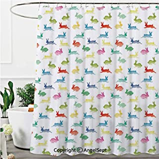 Lunarable Paint Duvet Cover Set Rabbits in Different Poses Jumping Running Bunnies Happy,Shower Curtain with 12 Hooks Online,Green Red,71