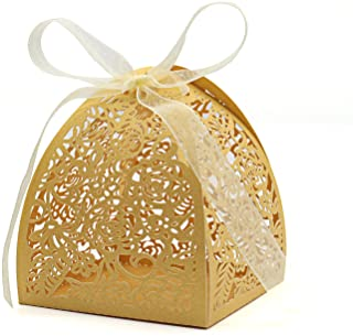 """KEIVA Pack of 70 Laser Cut Rose Candy Boxes, Favor Boxes 2.5""""x 2.5""""x 3.1"""", Gift Boxes for Bridal Shower Anniverary Birthday Party Wedding Favor (Gold)"""
