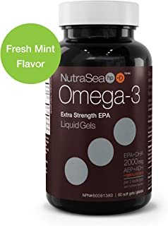 Nature's Way NutraSea hp+D Omega 3 + Vitamin D Supplement, Fresh Mint, 60 Soft Gels