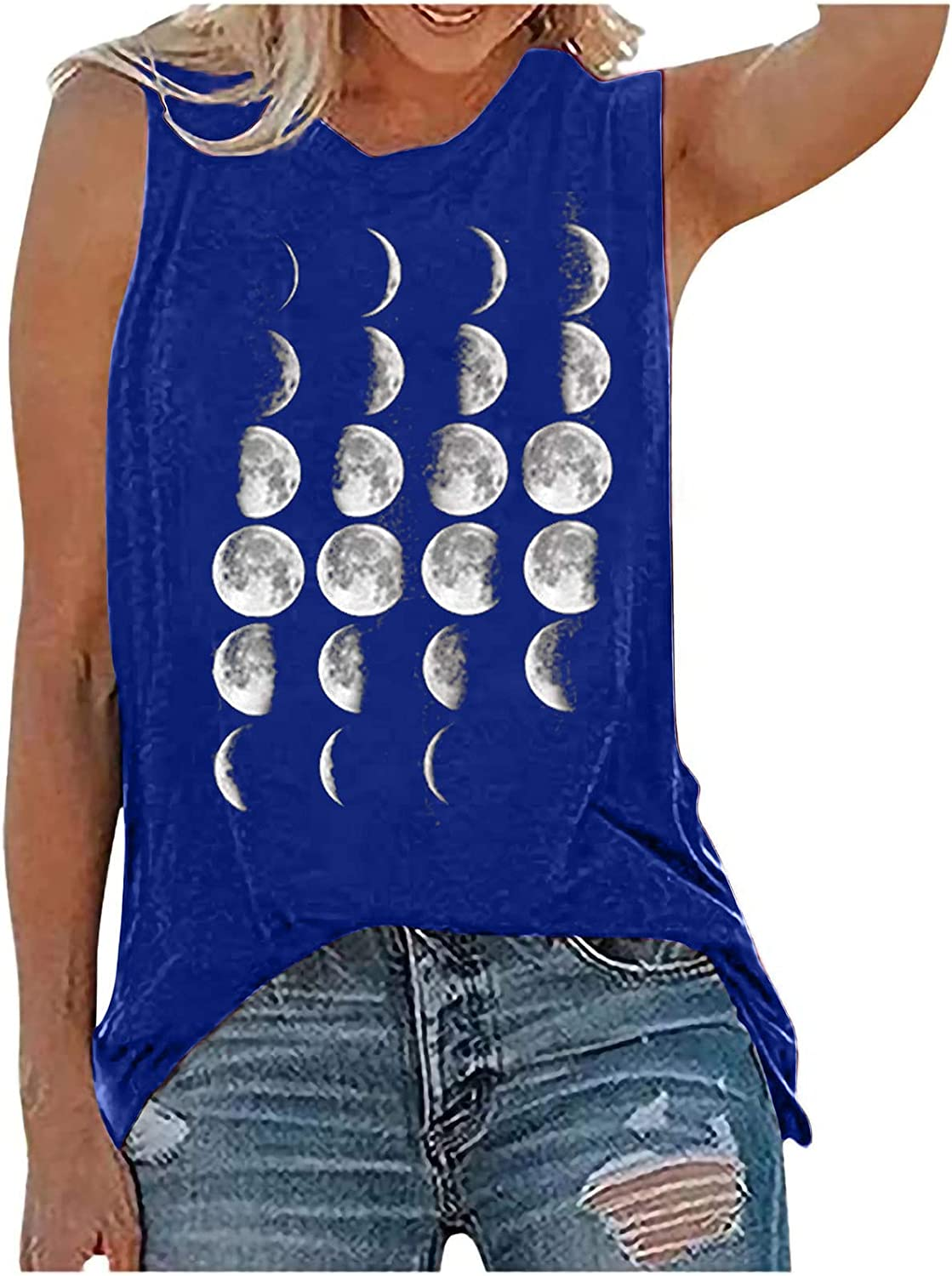 Vintage Sun and Moon Print Tank for Tops Low price Casual Sle Summer Women At the price