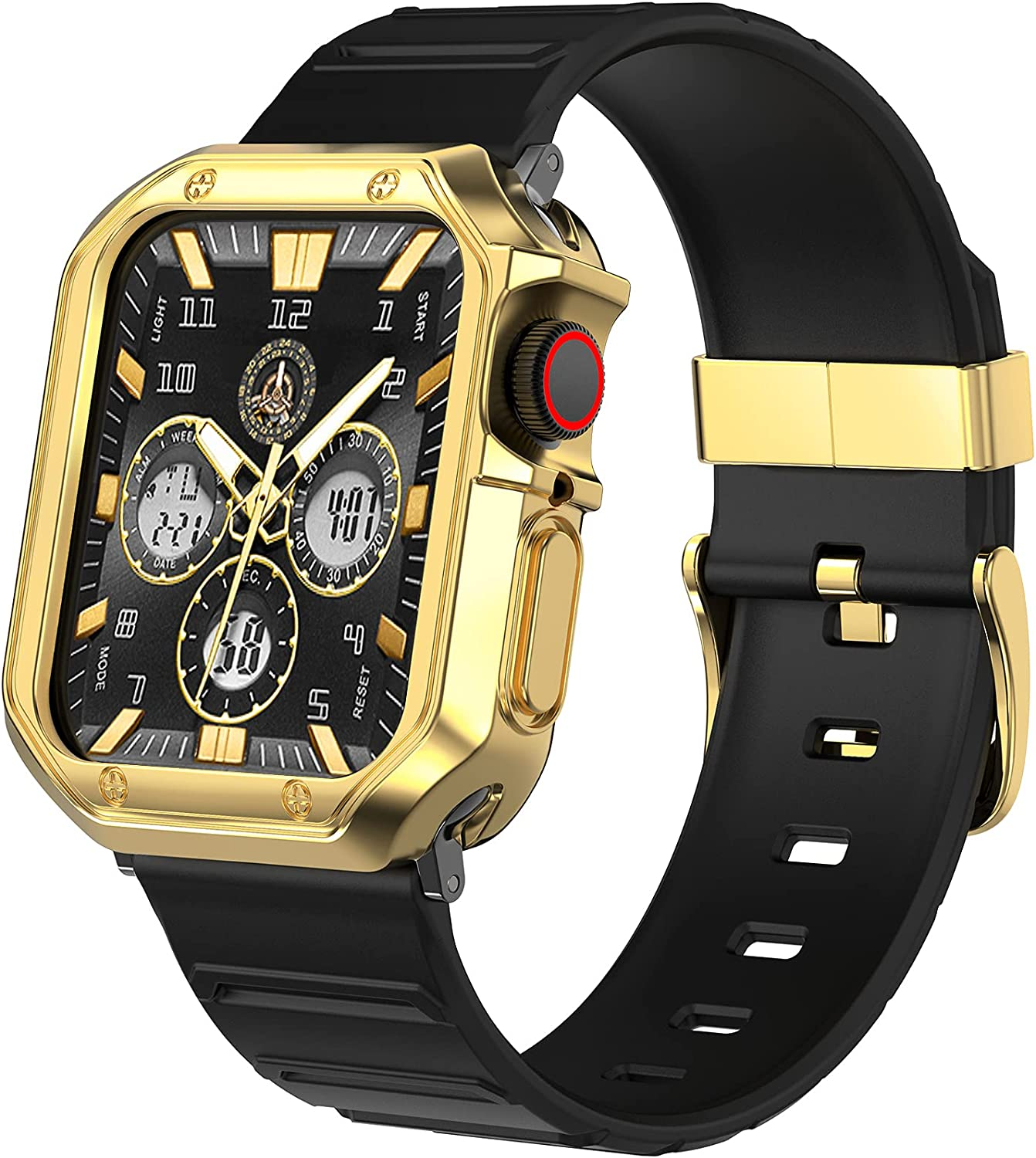 Swhatty Band Case Compatible with Apple Watch 44mm 42mm, Designer Men Women Shockproof Rugged Military Black Strap with Protector Cover, Sport Wristband Bumper for iWatch SE Series 6 5 4 3 2 1