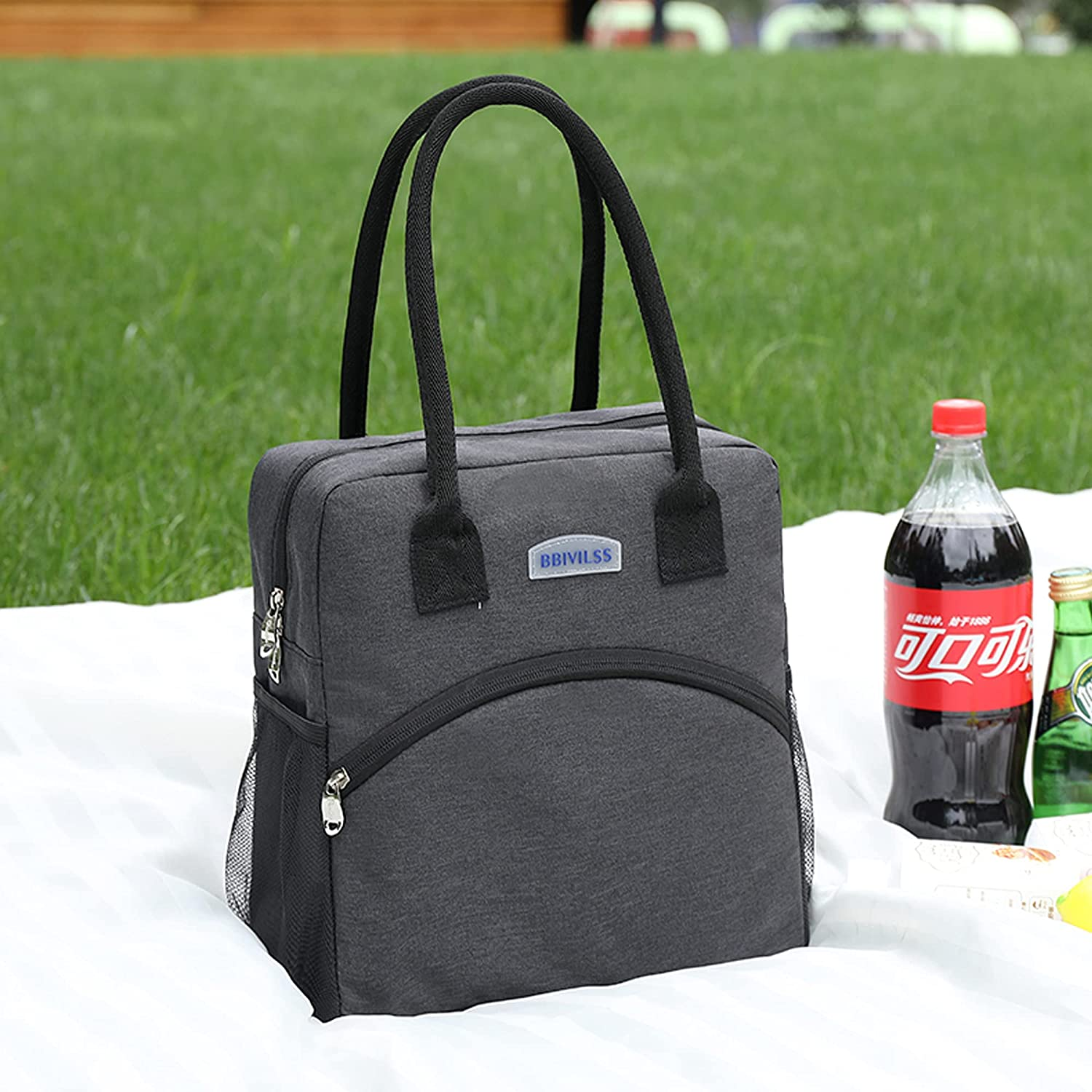 Insulated Lunch Bag for Women Men Tote Bag Large Handbag Cooler bag with Zipper Lunch Box for Work School Shopping Picnic Hiking Beach Fishing