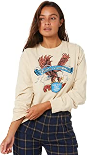 Thrills Women's Electric Eagle Merch Crop Long Sleeve Tee Crew Neck Cotton White